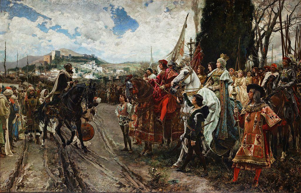 Rendición de Granada por Francisco Padilla: Boabdil frente a los Reyes Católicos