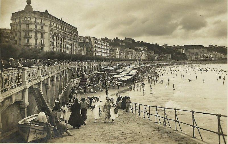 san sebastian foto historica playa de la concha 1910