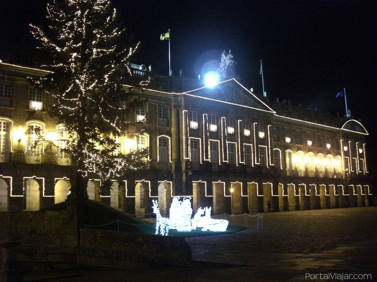 santiago de compostela 39 - pazo de raxoi y belen iluminados - navidad 2008
